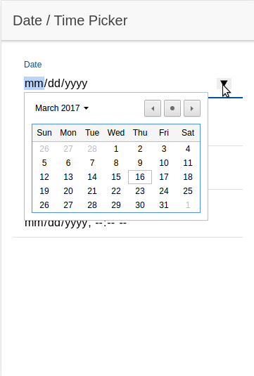 Chromium HTML Date Picker